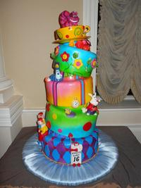 alice in wonderland sweet sixteen cake